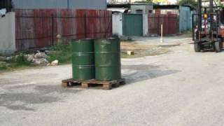 SEKO Forklift Scale crash into water barrels on skid